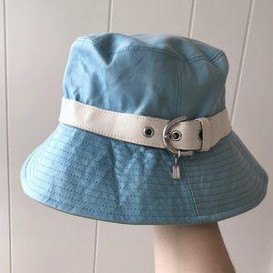 Coach Blue Bucket Hat Buckle Leather S